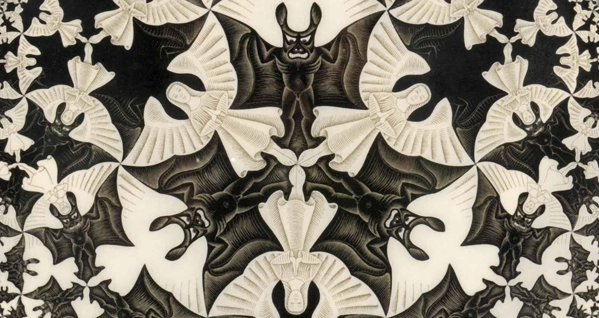 Escher Körhatár IV című fametszetének részletén angyalok és ördögök rendeződnek harmonikus egésszé. A jó és a gonosz között húzódó határ sokszor rendkívül képlékeny.